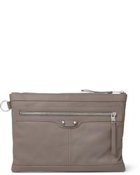 Graue Leder Clutch Handtasche