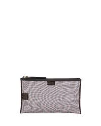 graue Leder Clutch Handtasche von Fendi
