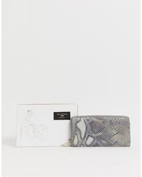 graue Leder Clutch mit Schlangenmuster von Paul Costelloe