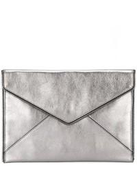 graue Leder Clutch von Rebecca Minkoff