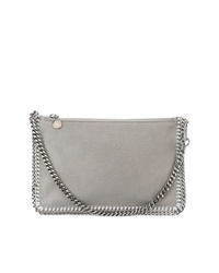 graue Leder Clutch von Stella McCartney