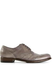 graue Leder Derby Schuhe