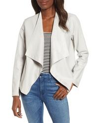 graue Leder Jacke mit einer offenen Front