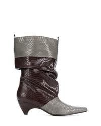 graue Leder mittelalte Stiefel von Stella McCartney