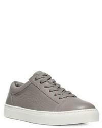 graue Leder niedrige Sneakers