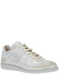 graue Leder niedrige Sneakers von Maison Martin Margiela