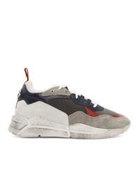 graue Leder niedrige Sneakers von Moncler