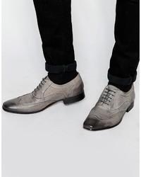 graue Leder Oxford Schuhe von Asos