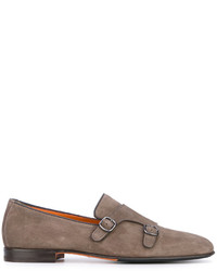 graue Leder Oxford Schuhe von Santoni