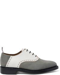 graue Leder Oxford Schuhe von Thom Browne