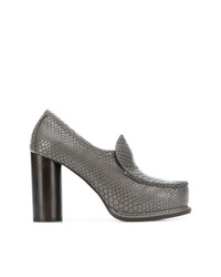 graue Leder Pumps mit Schlangenmuster von Stella McCartney