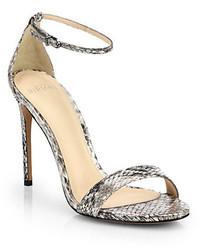 graue Leder Sandaletten mit Schlangenmuster