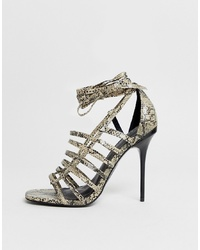 graue Leder Sandaletten mit Schlangenmuster von ASOS DESIGN