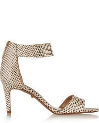 graue Leder Sandaletten mit Schlangenmuster von Diane von Furstenberg