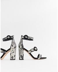 graue Leder Sandaletten mit Schlangenmuster von Faith