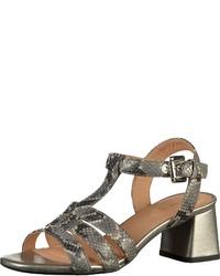 graue Leder Sandaletten mit Schlangenmuster von Geox