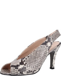 graue Leder Sandaletten mit Schlangenmuster von Paul Green