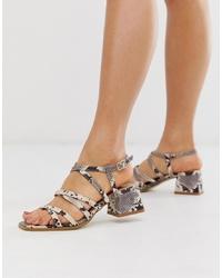 graue Leder Sandaletten mit Schlangenmuster von RAID