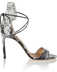 graue Leder Sandaletten mit Schlangenmuster von Reed Krakoff