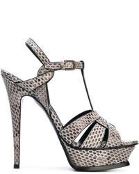 graue Leder Sandaletten mit Schlangenmuster von Saint Laurent