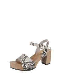 graue Leder Sandaletten mit Schlangenmuster von Softclox