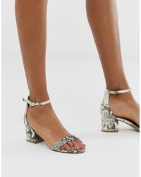 graue Leder Sandaletten mit Schlangenmuster von Steve Madden