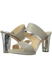 graue Leder Sandaletten