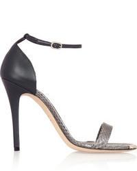 graue Leder Sandaletten von Alexander McQueen