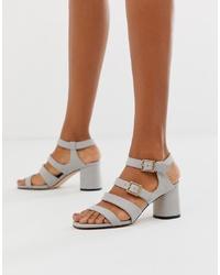 graue Leder Sandaletten von Faith