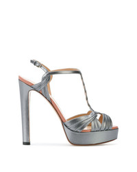 graue Leder Sandaletten von Francesco Russo