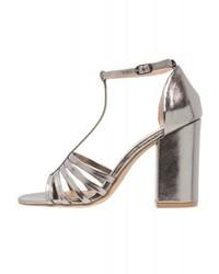 graue Leder Sandaletten von New Look