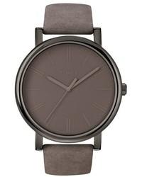 graue Leder Uhr