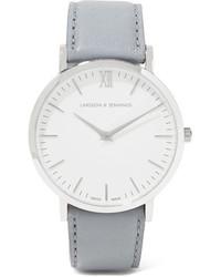graue Leder Uhr von Larsson & Jennings
