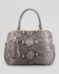 graue Lederhandtasche