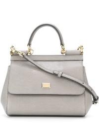 graue Lederhandtasche von Dolce & Gabbana