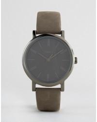 graue Lederuhr von Timex