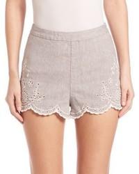 graue Leinen Shorts