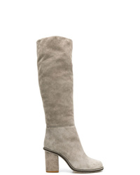graue Overknee Stiefel aus Wildleder von Lanvin
