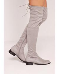 Graue Overknee Stiefel aus Wildleder von Missguided