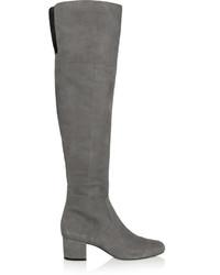 graue Overknee Stiefel aus Wildleder von Sam Edelman