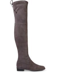 graue Overknee Stiefel aus Wildleder von Stuart Weitzman