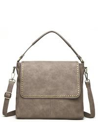 graue Satchel-Tasche aus Leder von COLLEZIONE ALESSANDRO