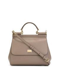 graue Satchel-Tasche aus Leder von Dolce & Gabbana
