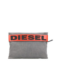 graue Segeltuch Clutch Handtasche von Diesel