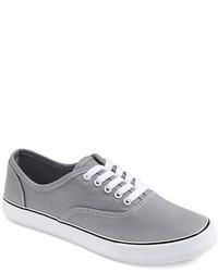 graue Segeltuch niedrige Sneakers