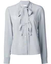 graue Seide Bluse mit Rüschen von RED Valentino