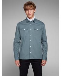 graue Shirtjacke von Jack & Jones