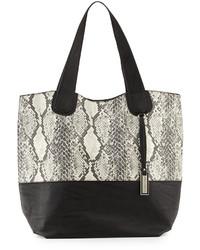 graue Shopper Tasche aus Leder mit Schlangenmuster