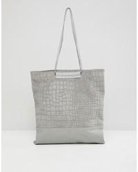 graue Shopper Tasche aus Leder mit Schlangenmuster von ASOS DESIGN