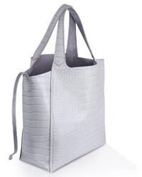 graue Shopper Tasche aus Leder mit Schlangenmuster von Inyati